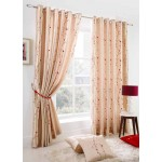blossom embroidered faux silk curtains cream