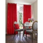 blossom embroidered faux silk curtains red