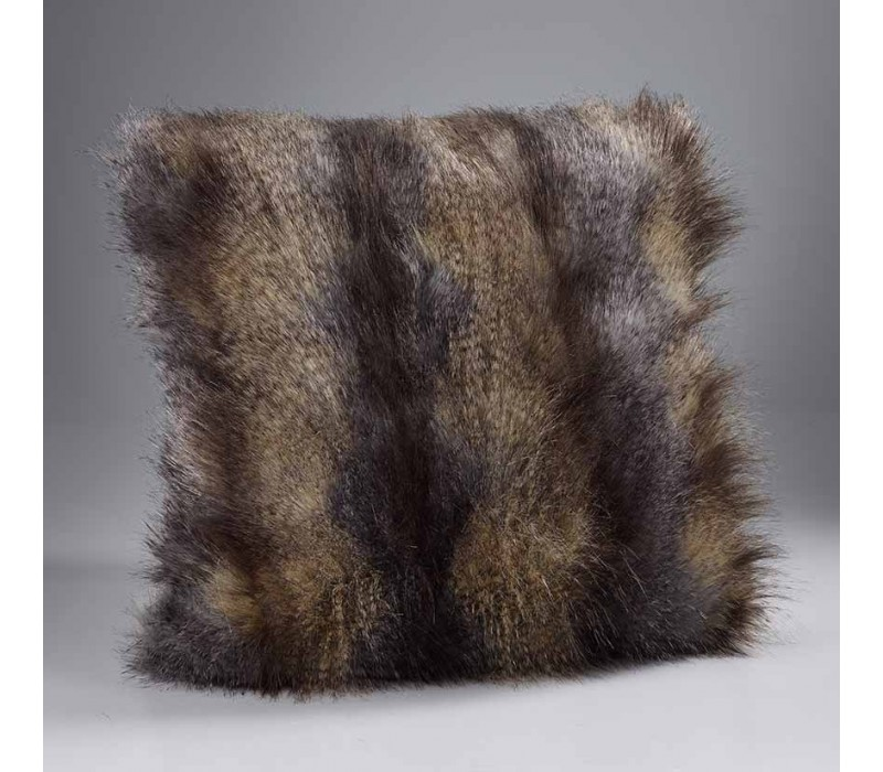 Blue Wolf Faux Fur Cushion