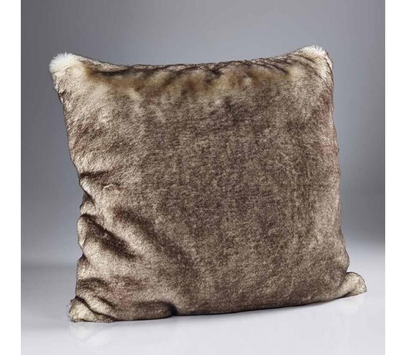 Brown Snow Fox Fur Cushion