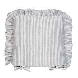 County Ticking Suffolk Grey frilled seat pad cushion