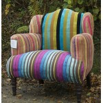 multi-stripe velvet patchwork armchair