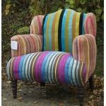 multi-stripe velvet patchwork armchair