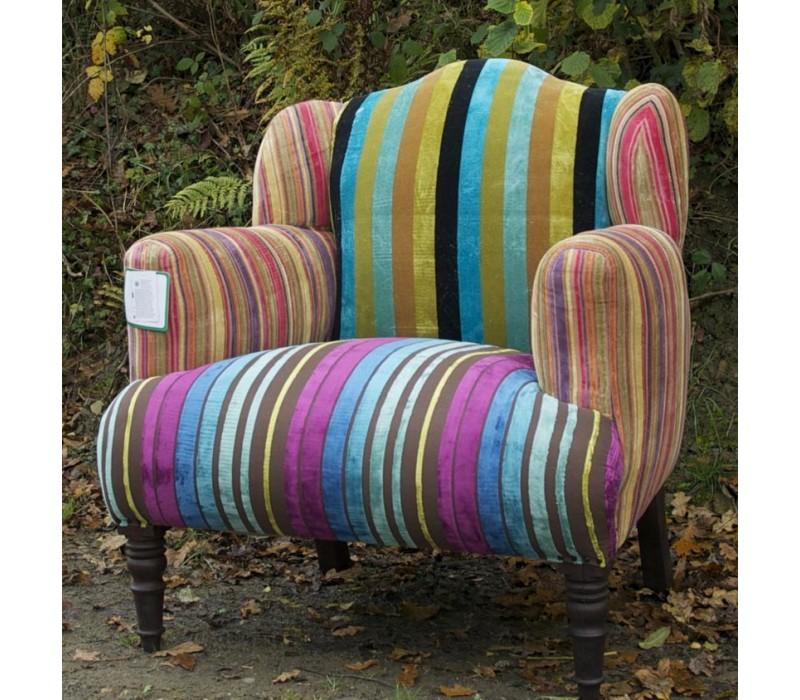 Multi Stripe Velvet Patchwork Armchair