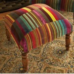 multi-stripe velvet patchwork footstool