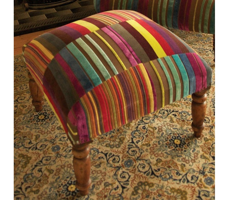 Multi Stripe Velvet Patchwork Footstool