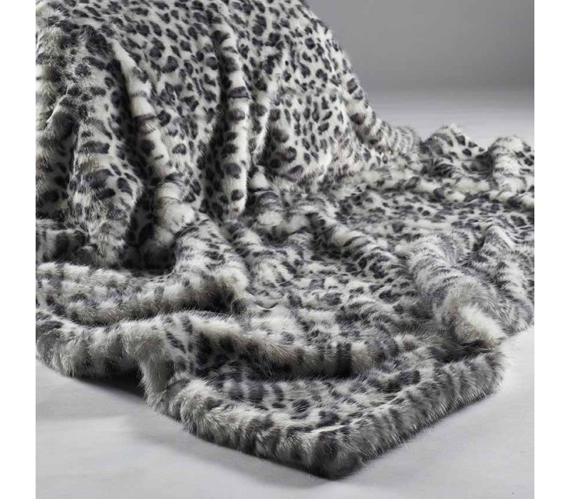 Grey White Leopard Faux Fur