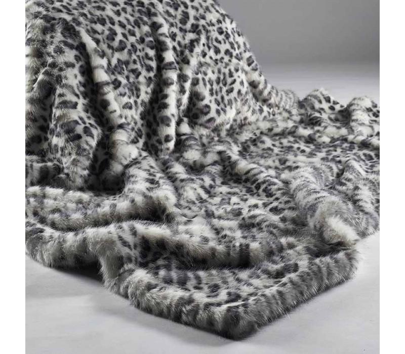 Grey White Leopard Faux Fur