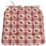 Holly sprigs on red tartan chunky seat pad