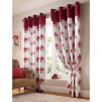 hibiscus floral curtains red