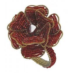 Vintage Rose Red Napkin Ring Set of Four