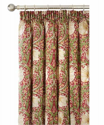 William Morris Pimpernel Red Lined Curtains