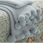 Pom Pom Knitted Throw Opal