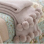 Pom Pom Knitted Throw Blush
