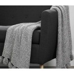 Pom Pom Knitted Throw  Grey