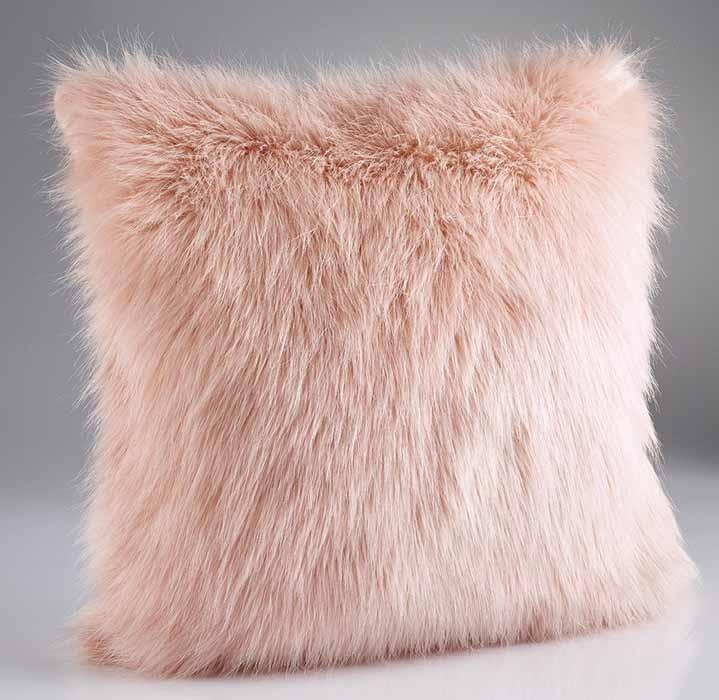 rose pink faux fur cushion. Black Bedroom Furniture Sets. Home Design Ideas