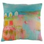 Beach Huts by the Sea Cushion