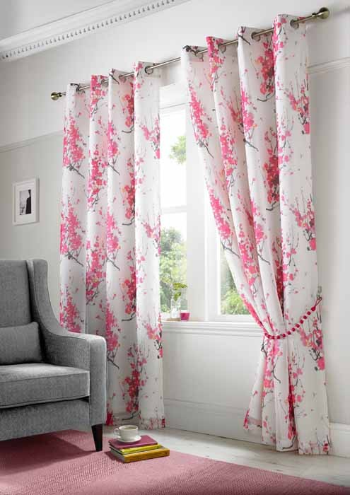 Tokyo Ringtop Lined Voile Curtains Fuschia