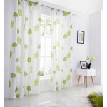 Tuscany ringtop lined voile curtains lime