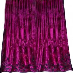 Alison Fuschia Pink Velvet Appliqued Curtain