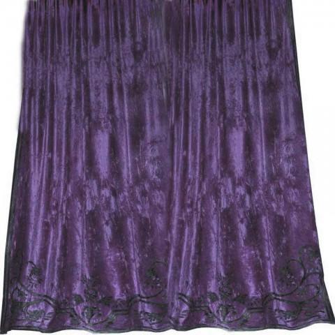 Alison Heather Velvet Appliqued Curtain