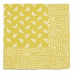 Bee Ochre tablecloth striped border