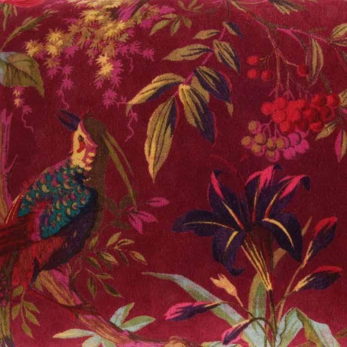 Bird Of Paradise Burgundy Velvet Cushion Cover