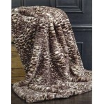 Black Leopard faux fur throw
