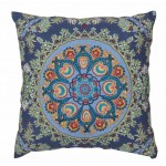 Blue Embroidered Cushion Cover