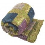 Blue green and purple satin brocade and velvet patchwork bedspread