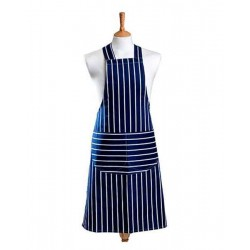 Butchers stripe blue fabric halter apron