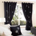 Casa black eyelet curtains