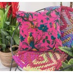 Bird of Paradise Cerise Velvet Cushion Cover