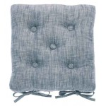 Chambray Flint Blue buttoned seat pad
