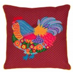 Chicken Crewelwork Cushion