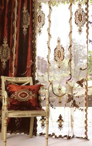 Constance Terracotta Velvet Curtain Panel