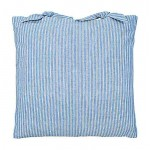 County Ticking Cornish Blue cushion cover with ties