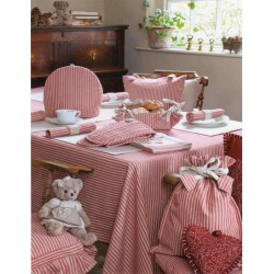 County Ticking Dorset Red tablecloth