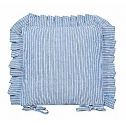 County Ticking Cornish Blue frilled seat pad cushion