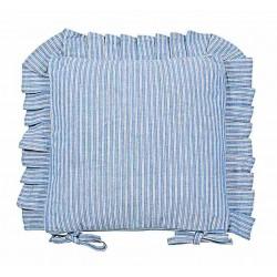 County Ticking Cornish Blue frilled seat pad cushion