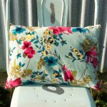 Desire floral printed Velvet Cushion Cover Aqua