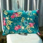 Desire floral printed Velvet Cushion Cover Teal