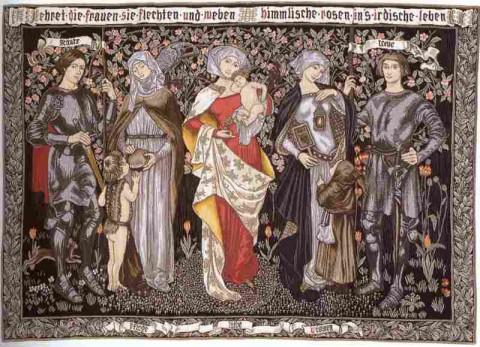 Ehret die Frauen Flemish Tapestry Wall Hanging