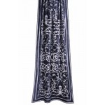 Frances Flax Blue Velvet Appliqued Curtain