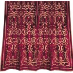 Frances Claret Velvet  Embroidered Curtain panel