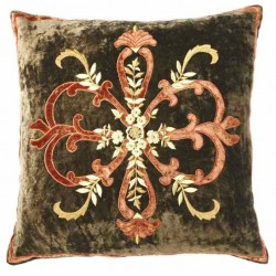 Frances Khaki Large Velvet Cushion cover