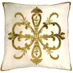 Frances Ivory Silk  Embroidered Cushion cover Square
