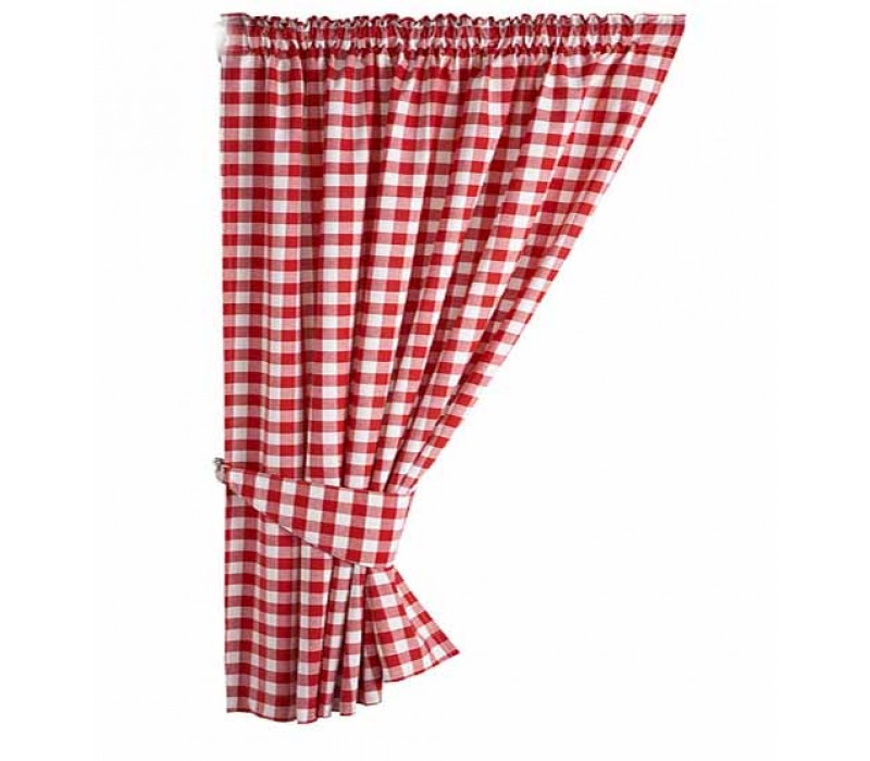 Gingham Red Country Check Ready Made Curtains