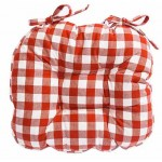 Gingham Country Check Chunky seat pad Terracotta