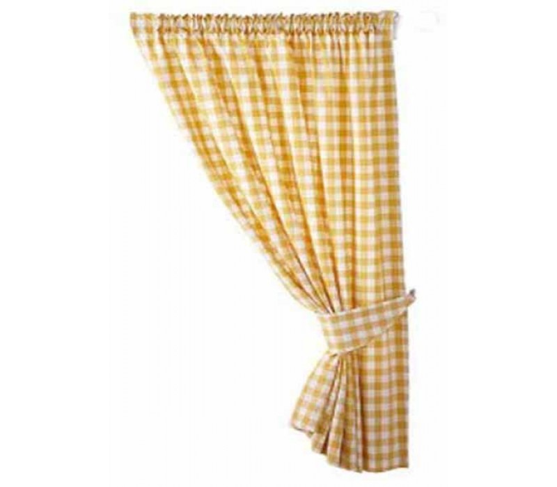 Gingham Yellow Country Check Ready Made Curtains